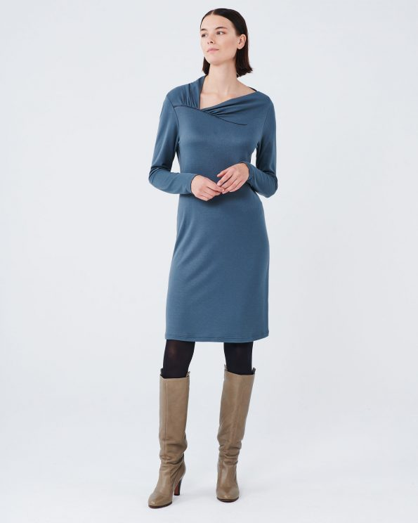 Diagonal Gathers Dress